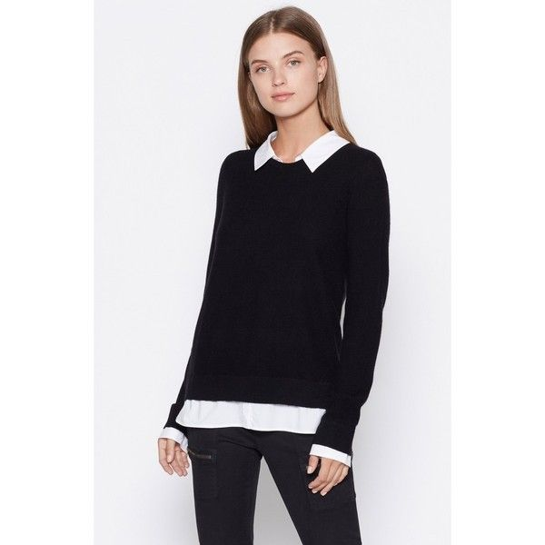 Joie Rika Layered Sweater (79.895 HUF) found on Polyvore featuring women's fashion, tops, sweaters, black, crewneck, knitwear, crewneck sweater, sleeve top, joie sweater and stitch sweater