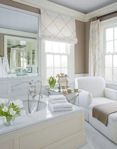 Phoebe HowardBathroom Design, Wall Colors, Chaise Lounges, Dreams Bathroom, Beautiful Bathroom, Window Treatments, White Bathroom, Master Bath, Windows Treatments