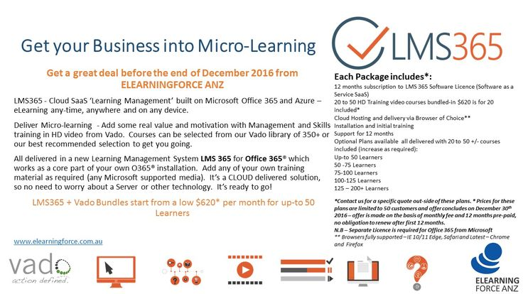 Micro-Learning 'Special Offer' LMS365 +Vado HD training Video package to end of Dec 2016