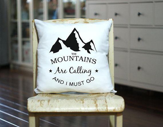 Mountains Are Calling - Personalized Pillow - Custom Made Pillow - Throw Pillow - Mountains Gift - Camp Pillow - Decorative Pillow
