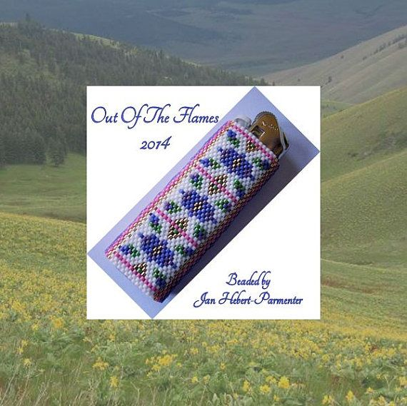 Bead PATTERN Floral Lighter Cover Peyote Brick by Outoftheflames