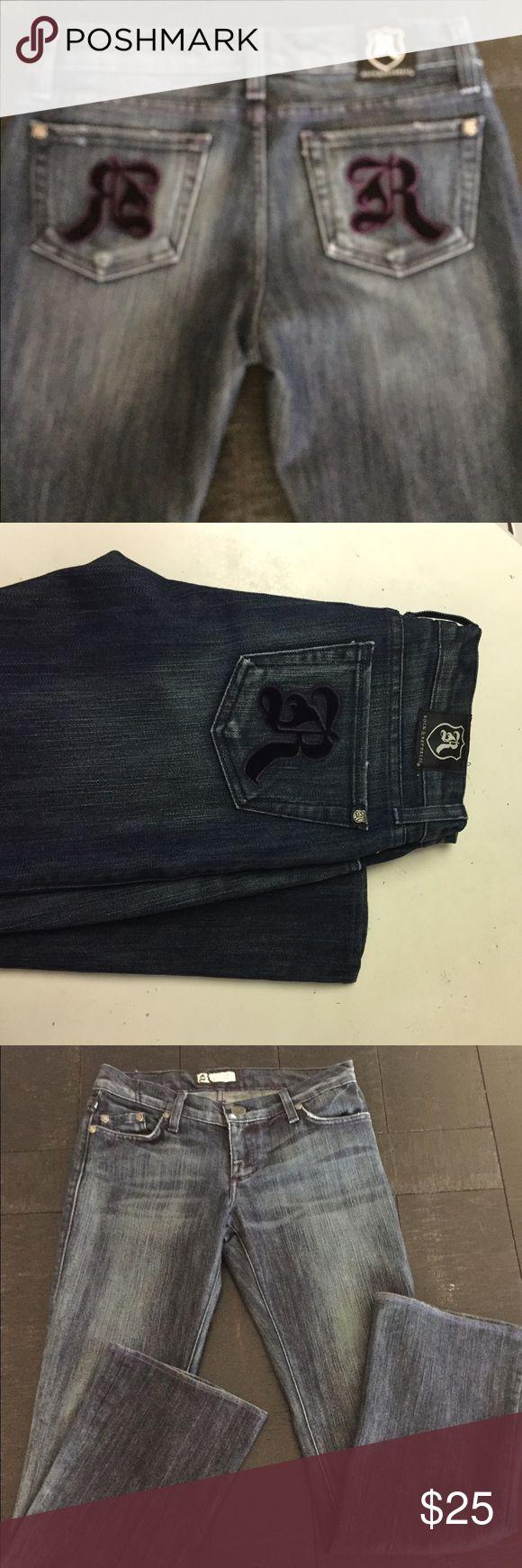 Rock & Republic Jeans Dark Denim Rock & Republic Jeans. Only wore a couple of times. Rock & Republic Jeans Flare & Wide Leg