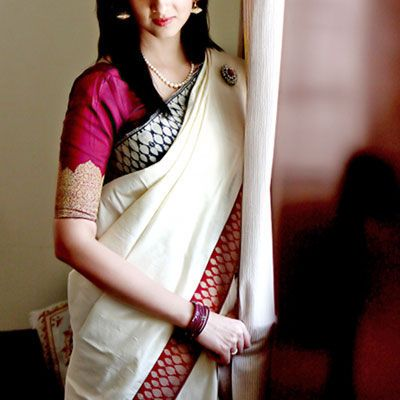 Red, green and cream saree or sari with blouse design