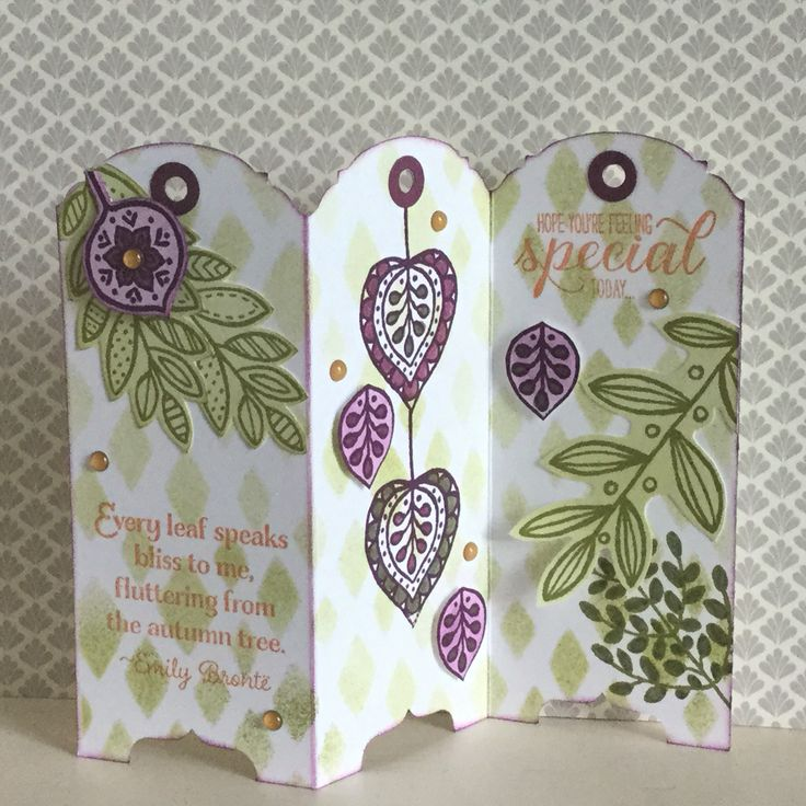 At a Stampin' Up workshop on Saturday my first mini screen card, pinned a couple of weeks ago, was very popular. Here is another one using a new stamp set Lighthearted Leaves from the Autumn/Winter catalogue available from the 1st September. Hope you like it - created by Julia Jordan
