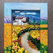 Купить или заказать Панно ' Маковое поле' в интернет-магазине на Ярмарке Мастеров. Панно из стекла в технике фьюзинг. По мотивам художника Jean-Marc Janiaczyk. Рамка расписана как продолжение картины.