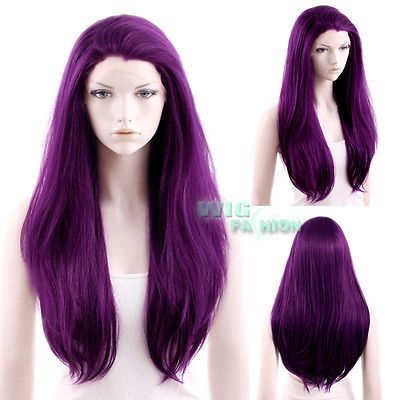 Purple lace-front wig
