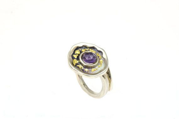 #Amethyst #Gemstone,#February #Birthstone,Statement Ring, Sterling Silver Ring, Purple Enamel Ring, Under 100 €87.50 EUR