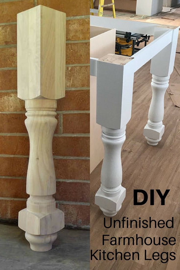 Beautiful Unfinished Farmhouse Style Kitchen Island Or Counter Height Table Legs Ad Farmhouse Farmhouse Style Kitchen Farmhouse Style Table Diy Dining Table
