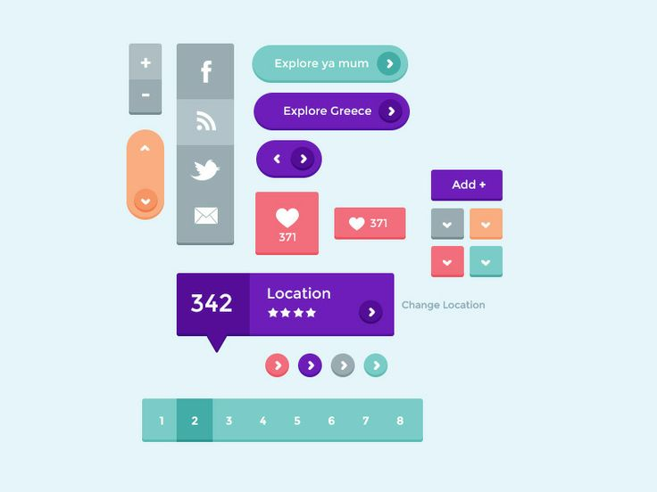 dribble 6 Free Flat UI Kits | PSD Downloads