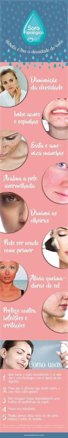 Soro fisiológico: hidrata e acaba com a oleosidade do rosto - Blog da Mimis #infográfico #blogdamimis #saúde #pele #sorofisiológico