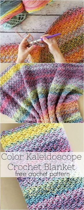 Cor caleidoscópio crochet cobertor padrão