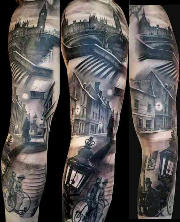 London skyline scenery tattoo
