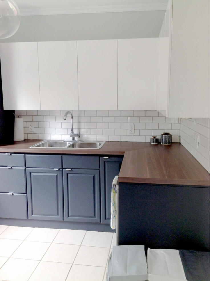 Kitchen After Ikea Appalad Upper Cabinets Owl Grey
