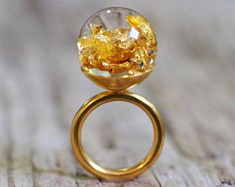 Gold Leaf Resin Ring, Gold-plated Sterling Silver Ring, Resin Jewellery, Bridal Jewelry, Engagement Ring, Statement Ring, Bold Jewelry