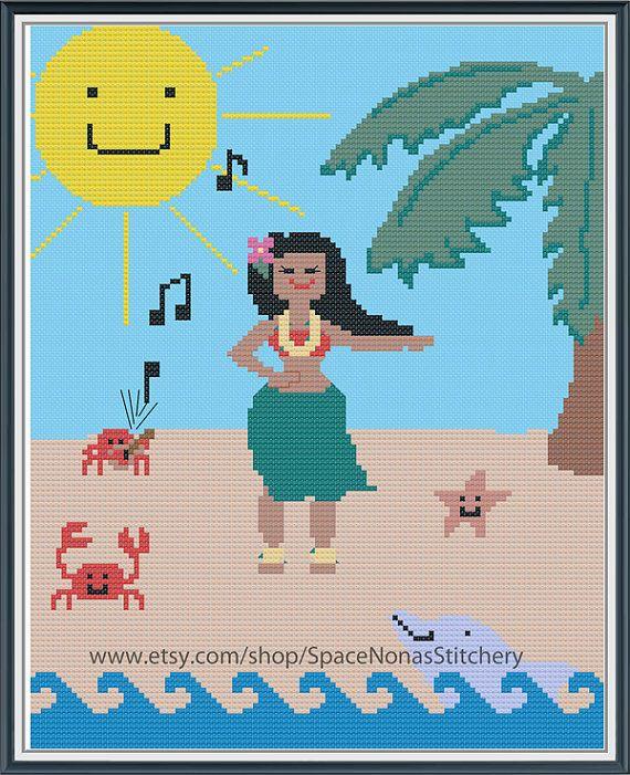 Hula Girl Cross Stitch Pattern by SpaceNonasStitchery on Etsy, $8.00