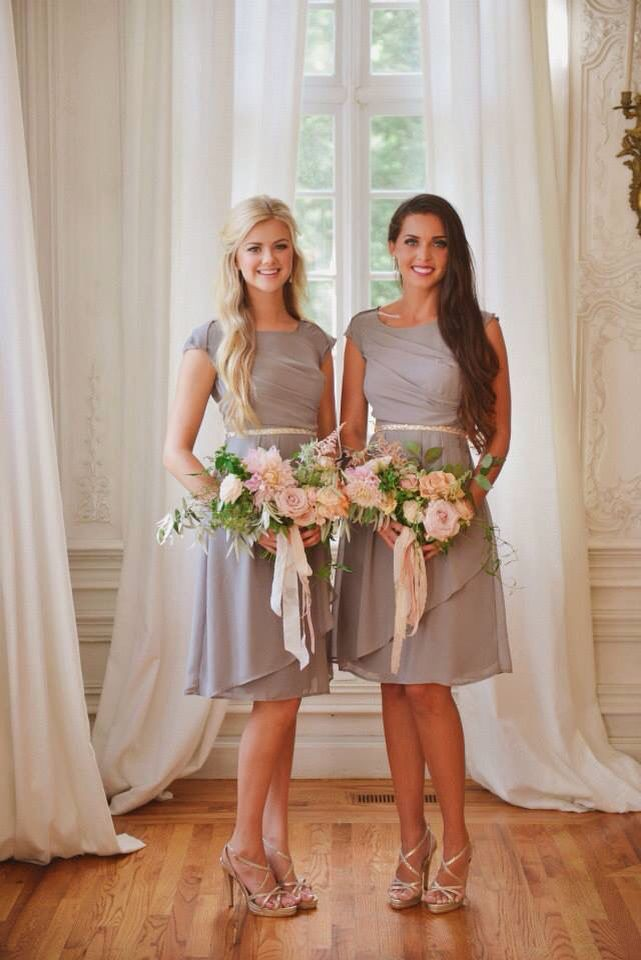 i like this style. Modest brides maids dresses in gray from latter day bride:)