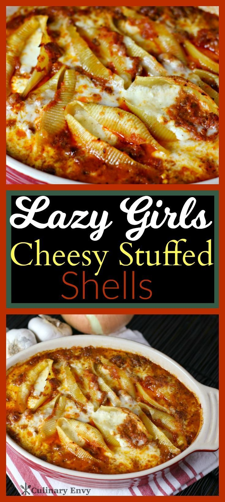 Lazy Girls Cheesy Stuffed Shells are big tasty bites of cheese stuffed pasta, baked in a rich red tomato beef sauce. It's exceptionally easy comfort food at its best!  Click to read more or Pin & Save for later.