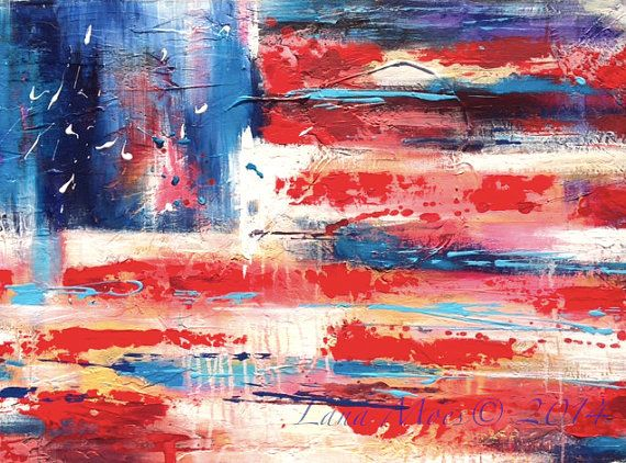 American Flag ABSTRACT Large Original Painting - ABSTRACT EXPRESSIONISM Modern Painting on Wrapped Canvas