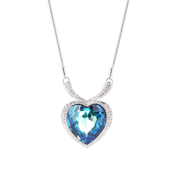 Parati Fashion Jewelry Heart of the Ocean Austrian Crystal Long Sweater Chain Pendant Necklace For Women, Romantic Valentine Gift