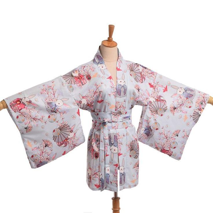 Kawaii Japanese Bunny Yukata Kimono Cardigan Cute Women Onegai Usagi Praying Rabbit Matsuri Blossom Bunny Coat Jacket