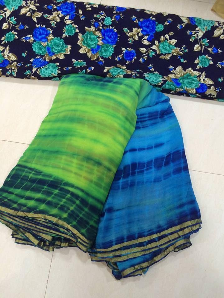 Pure Georgette shibori Dye saree with Thread work Blouse | Buy Online Sarees | Elegant Fashion Wear