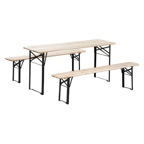 Outsunny 3 Piece Outdoor Folding Picnic Table Set