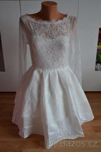 Krátké krajkové. svatební šaty vel. 38- 40 - 1
