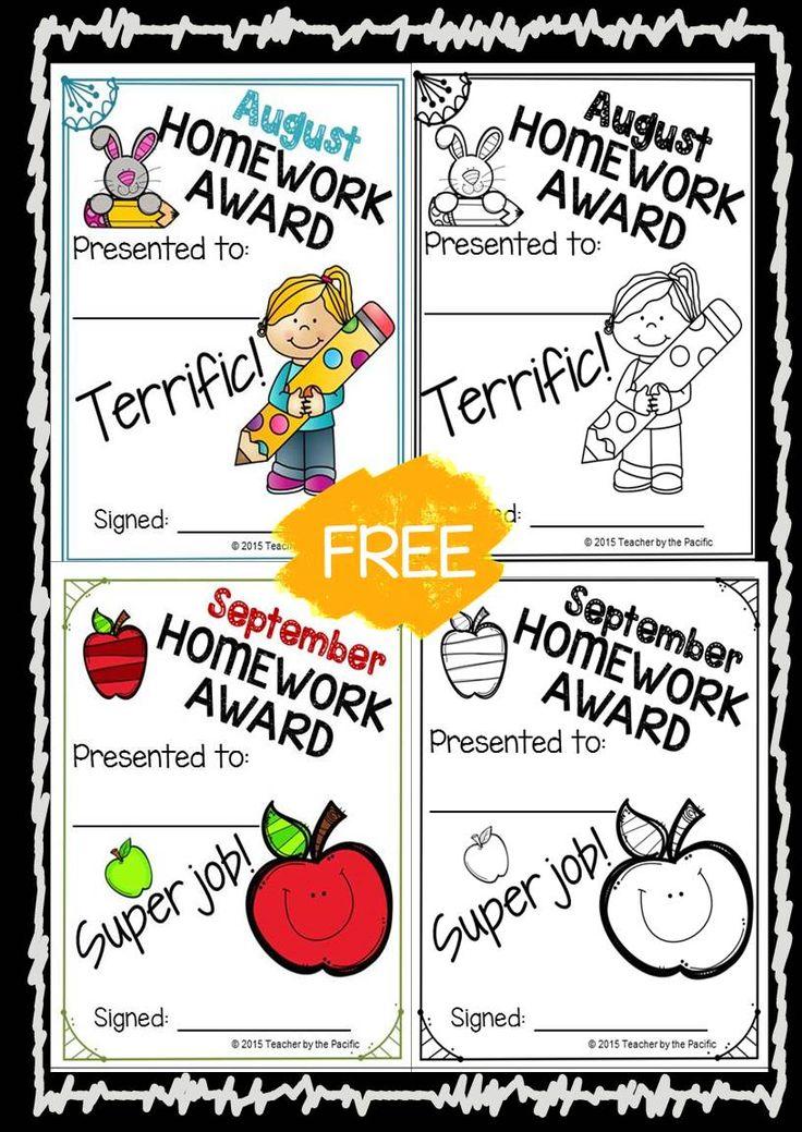 FREE August and September Homework Awards ~ Color and Blackline Masters #homework