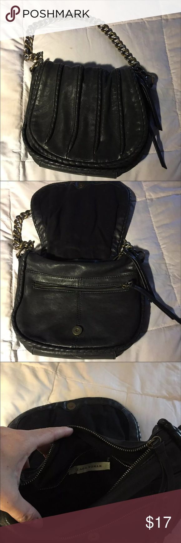 Black leather Zara purse Black leather Zara purse in nice shape. Could be dressed up or down. Zara Bags Shoulder Bags