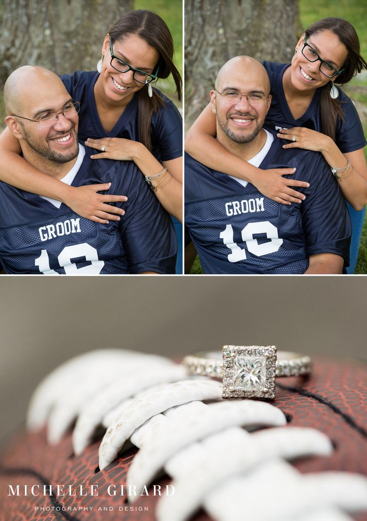 Football engagement ring shot :: Custom Bride and Groom Foot Ball Jerseys with Wedding Date :: Rustic Engagement Session at Worthington Pond in Somers, Connecticut by Michelle Girard Photography and Design