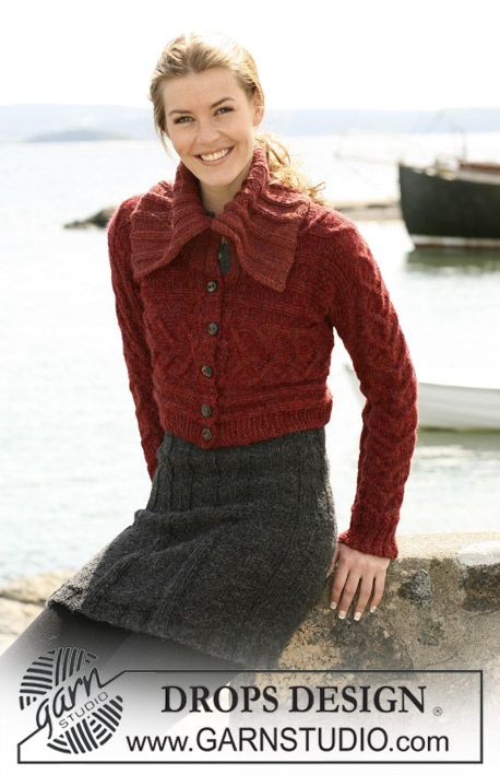 """DROPS 103-14 - Short DROPS jacket with cables, knitted from side to side with 2 threads """"Alpaca"""". DROPS Skirt in 2 threads """"Alpaca"""". Size S to XXXL. - Free pattern by DROPS Design"""