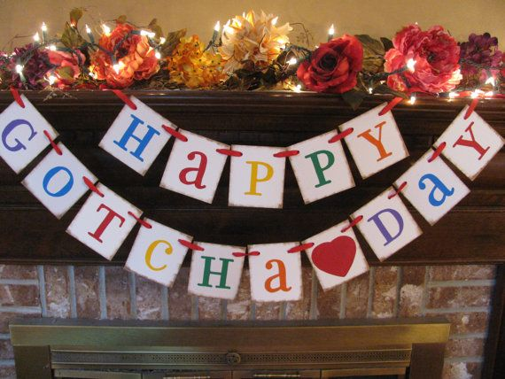 Gotcha Day Adoption Banner  Happy Gotcha Day Party Celebration Decoration Bright Colorful Primary Colors (M1) on Etsy, $27.31 CAD
