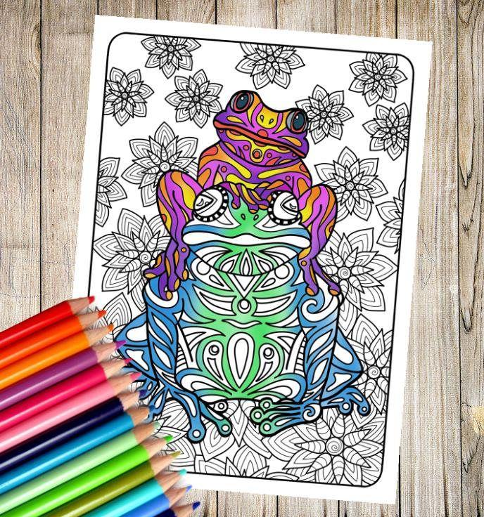 Tribal Frogs Coloring Page by DorkieIllustrations on Etsy