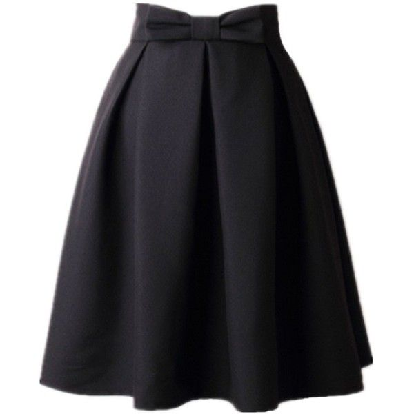 Women's A Line Pleated Vintage Skirt High Waist Midi Skater with Bow... ($19) ❤ liked on Polyvore featuring skirts, midi skater skirt, a-line skirt, high-waisted midi skirts, pleated skirt and red pleated skirt