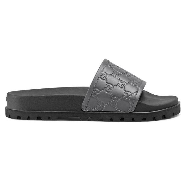 Gucci Signature Slide Sandal ($370) ❤ liked on Polyvore featuring men's fashion, men's shoes, men's sandals, grey, gucci mens shoes, mens leather sandals, mens leopard print shoes, mens strap sandals and mens grey shoes