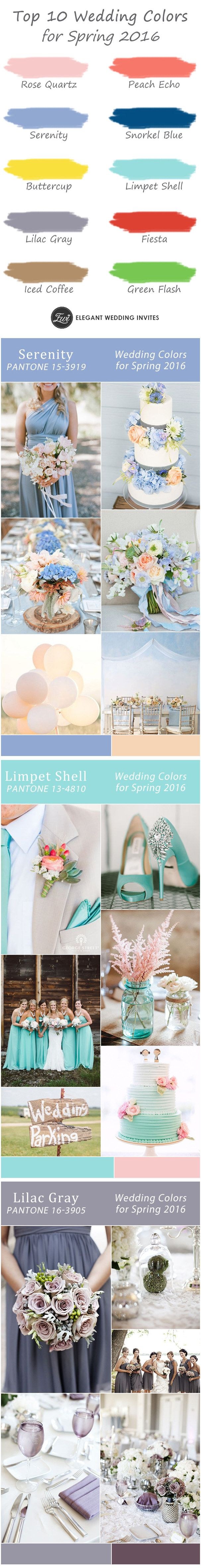 gorgeous 10 wedding color ideas for spring 2016 wedding trends-serenity light blue, peach echo coral, lilac gray, iced coffee and more