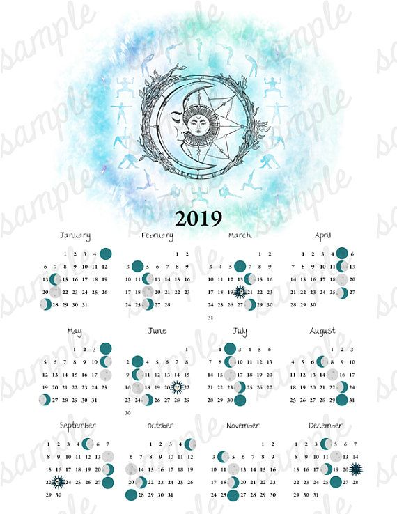 2019 Moon Phase Calendar Yoga Equinox Solstice Astronomy Space