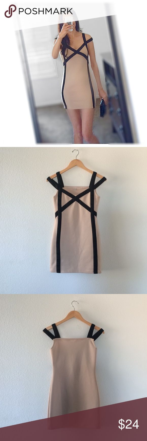 Tan and black stretch dress Sexy Tan and black stretch dress. Good used condition, it has some run treads and wash signs, still a geat dress for a nigth out! Size M , but fits like S.the color is like pinkish tan color with black straps. 💗 bundle and save💗 Dresses Mini