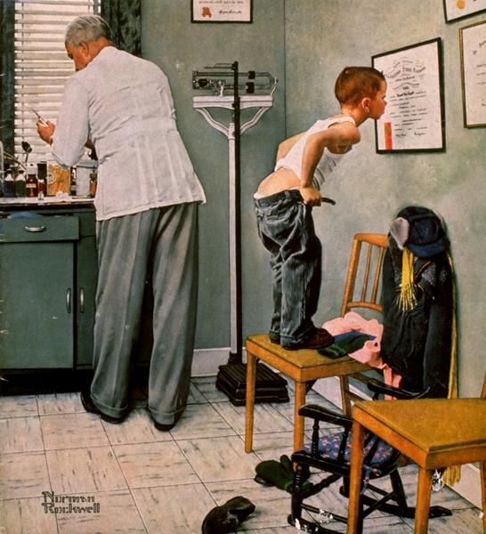 .Rockwell Art, Artnorman Rockwell, The Doctors, Art Norman Rockwell, Art Prints, Doctors Offices, Shots, Painting, Normanrockwel