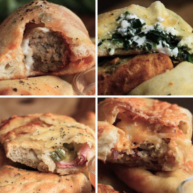 Mini Calzones 4 Ways: Meatball Parmesan, Hawaiian, Spinach & Cheese and Chicken Bacon Ranch