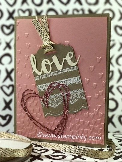Which 2 items on this card can you get for free during Sale-a-Bration?  If you guessed the Delicate Details stamp set and the Metallic Ribbon, you are correct!  #stampinbj.com