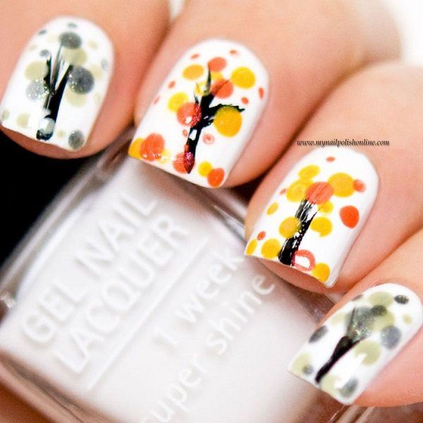 Trees during Autumn - 55 Seasonal Fall Nail Art Designs