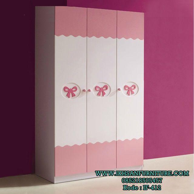 Lemari Pakaian Anak 3 Pintu Putih Pink