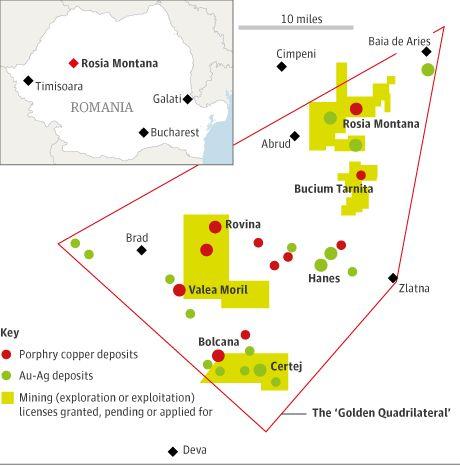 Rosia Montana gold mine map