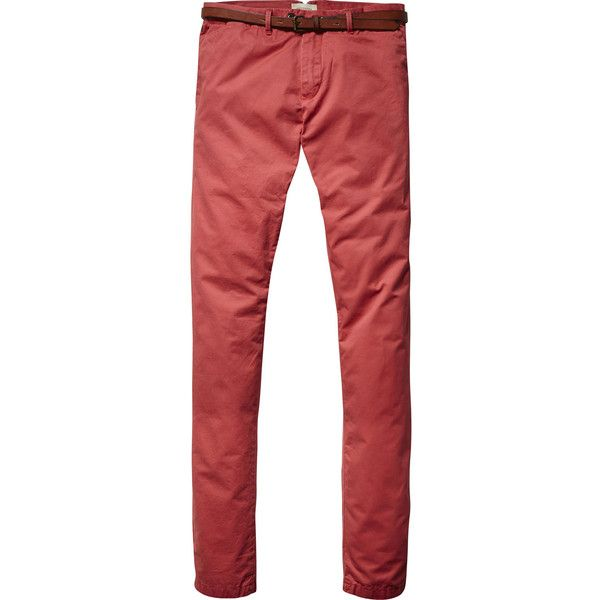 Scotch & Soda Cotton Chino Pants (455 DKK) ❤ liked on Polyvore featuring men's fashion, men's clothing, men's pants, men's casual pants, red rock, mens chinos pants, mens red chino pants, mens slim fit pants, mens chino pants and mens red pants