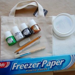 """here is the freezer paper stenciling tutorial. I took these pictures as I was making the """"In Like a Lion"""" tote bag that appeared in our March 2010 issue. It was lots of fun! Here's how I did it."""