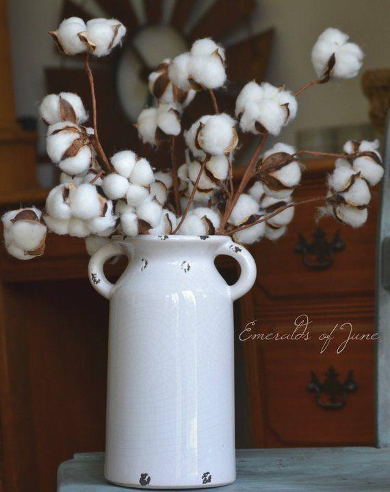 Cotton Arrangement In Ceramic Milk Jug Vase Etsy In 2020 Milk Jug Vase Jug Decor Milk Jug Crafts