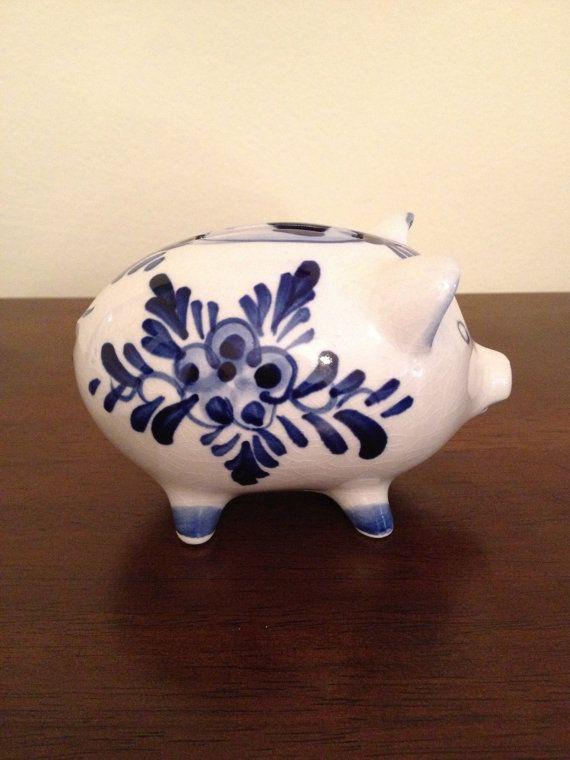 Vintage Blue and White Porcelain Piggy Bank with Scandinavian Design. $8.50, via Etsy.