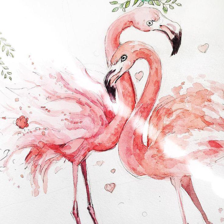 картинка розового фламинго рисунок эритему биетта