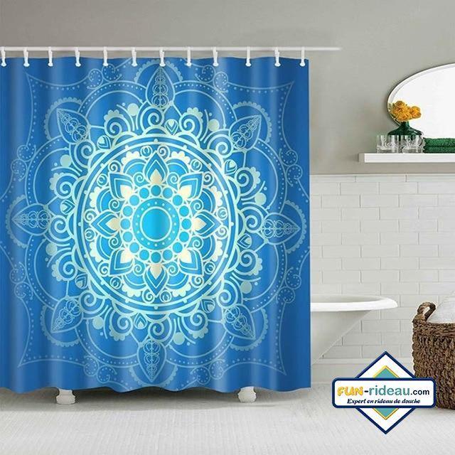 rideau de douche original mandala bleu azur  rideau